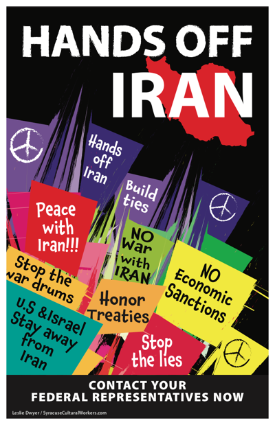 Hands Off Iran poster by Leslie Dwyer