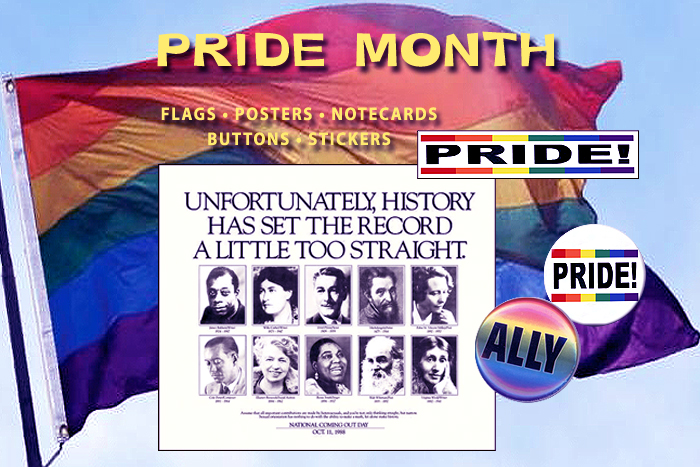 June 28 is Pride Day, and all of June is Pride Month. Get resources to show your pride and support! Flags, posters, notecards, buttons and stickers available at Syracuse Cultural Workers.