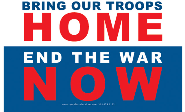 Yard Sign Placard Bring Our Troops Home Syracuse