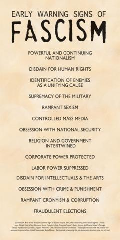 poster early warning signs of fascism syracuse