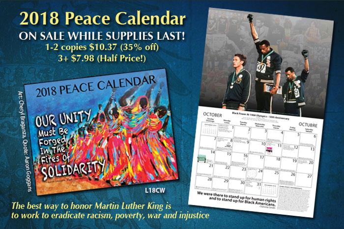 2018 peace calendar sale