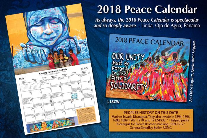 Syracuse Calendar.2018 Peace Calendar November Syracuse Cultural Workers