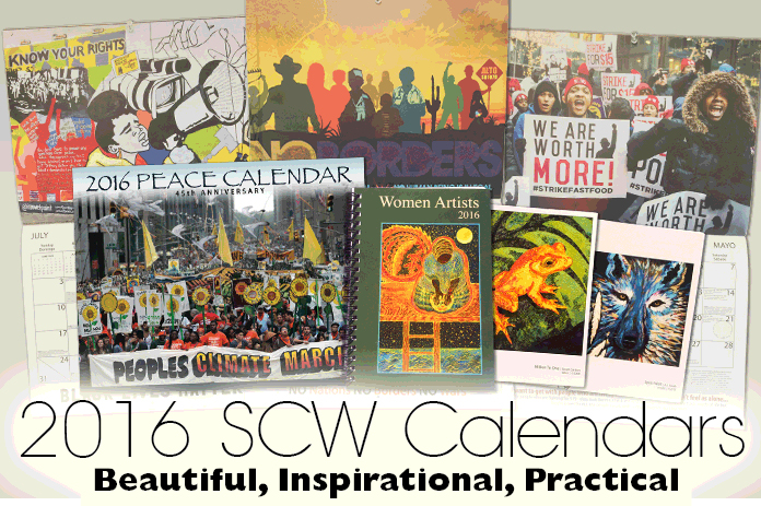 The 2016 Peace Calendar focusses on the critical issue of Climate Justice and addresses a wide range of important issues. The Women Artists Datebook features artwork and poetry by over 30 women artists.
