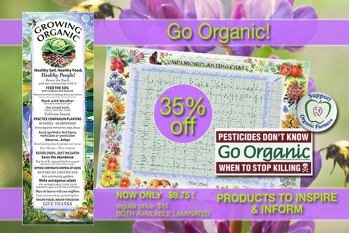 Posters, stickers, buttons and more to inspire and inform. Companion Planting Chart to help you plan your garden, Growing Organic to help connect to the land, buttons and stickers to show your commitment and support!