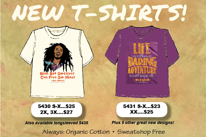 Two of our seven beautiful new T-shirt designs.