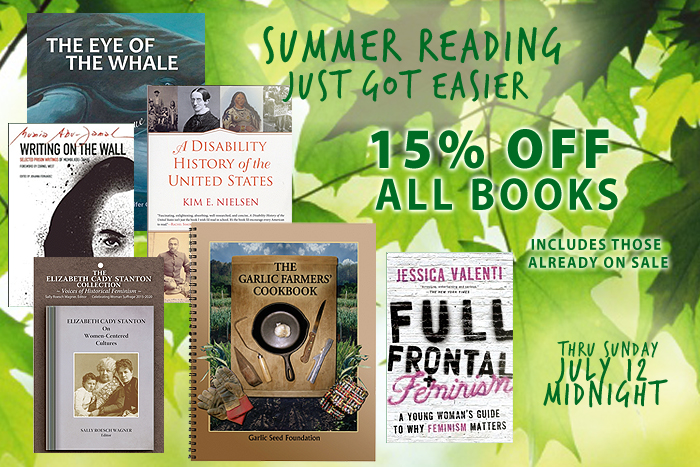 Filling up your summer reading list just got easier! 15% off every book on our site through Sunday, July 12. Political books, cookbooks, children's, history, chapbooks and more.