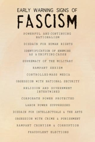 Early Signs Of Fascism >> Postcard Early Warning Signs Of Fascism Syracuse Cultural Workers