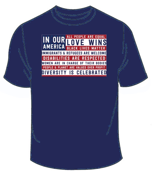 03485634f T-Shirt - In Our America | Syracuse Cultural Workers